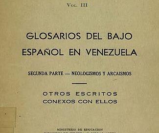 Glosario de voces indígenas de Venezuela Vol. III