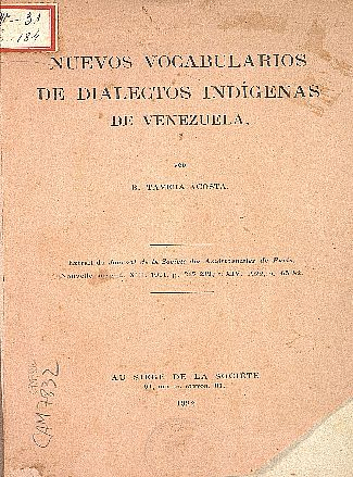 Nuevos vocabularios de dialectos indígenas